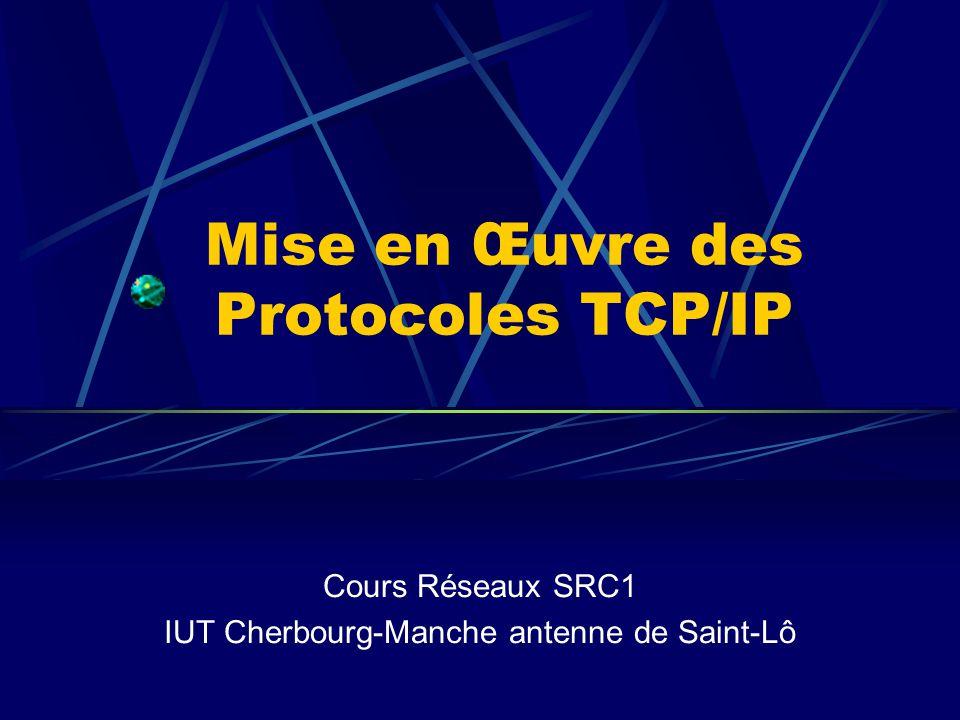 Mise en Œuvre des Protocoles TCP/IP Cours Réseaux SRC1 IUT Cherbourg-Manche antenne de Saint-Lô