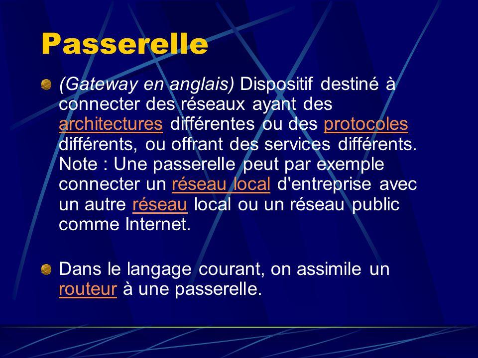 Passerelle (Gateway en anglais) Dispositif destiné à connecter des réseaux ayant des architectures différentes ou des protocoles différents, ou offran