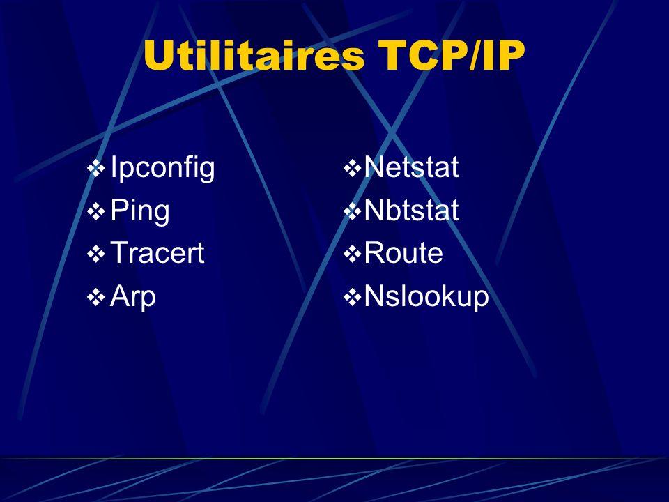 Utilitaires TCP/IP Ipconfig Ping Tracert Arp Netstat Nbtstat Route Nslookup
