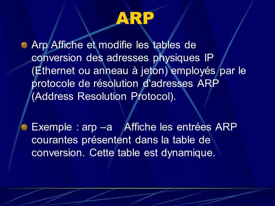 ARP Arp Affiche et modifie les tables de conversion des adresses physiques IP (Ethernet ou anneau à jeton) employés par le protocole de résolution d'a