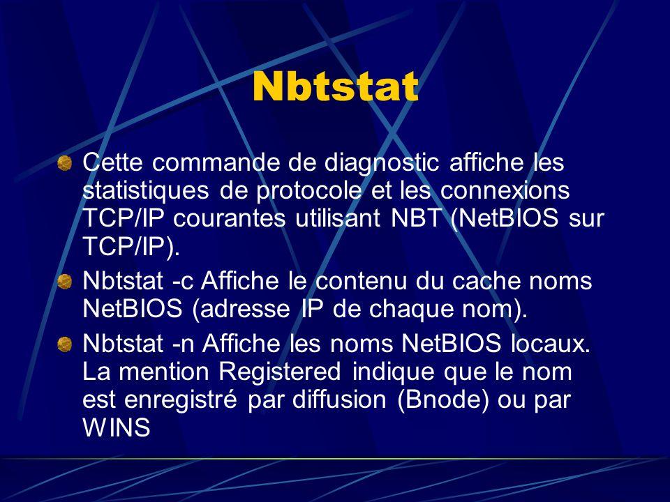 Nbtstat Cette commande de diagnostic affiche les statistiques de protocole et les connexions TCP/IP courantes utilisant NBT (NetBIOS sur TCP/IP). Nbts