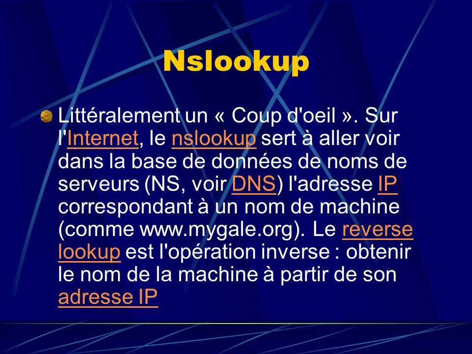 Nslookup Littéralement un « Coup d'oeil ». Sur l'Internet, le nslookup sert à aller voir dans la base de données de noms de serveurs (NS, voir DNS) l'