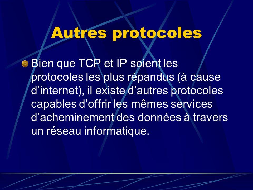 Autres protocoles Bien que TCP et IP soient les protocoles les plus répandus (à cause dinternet), il existe dautres protocoles capables doffrir les mê