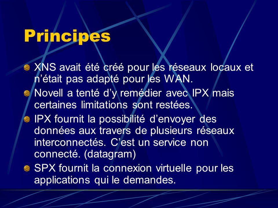Principes XNS avait été créé pour les réseaux locaux et nétait pas adapté pour les WAN. Novell a tenté dy remédier avec IPX mais certaines limitations
