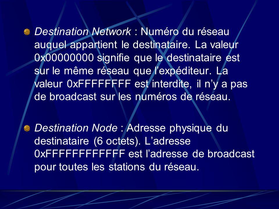 Destination Network : Numéro du réseau auquel appartient le destinataire. La valeur 0x00000000 signifie que le destinataire est sur le même réseau que