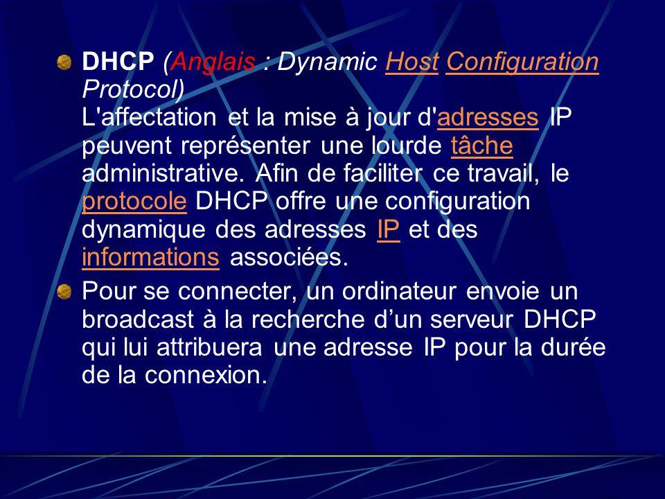 DHCP (Anglais : Dynamic Host Configuration Protocol) L'affectation et la mise à jour d'adresses IP peuvent représenter une lourde tâche administrative