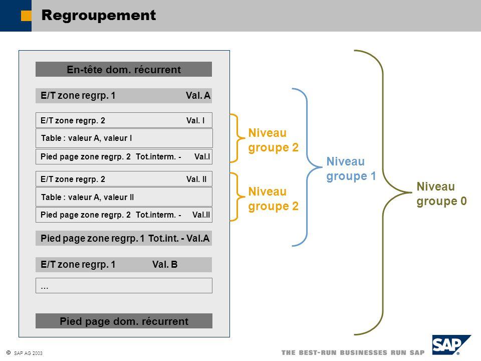 SAP AG 2003 Regroupement En-tête dom.récurrent Pied page zone regrp.