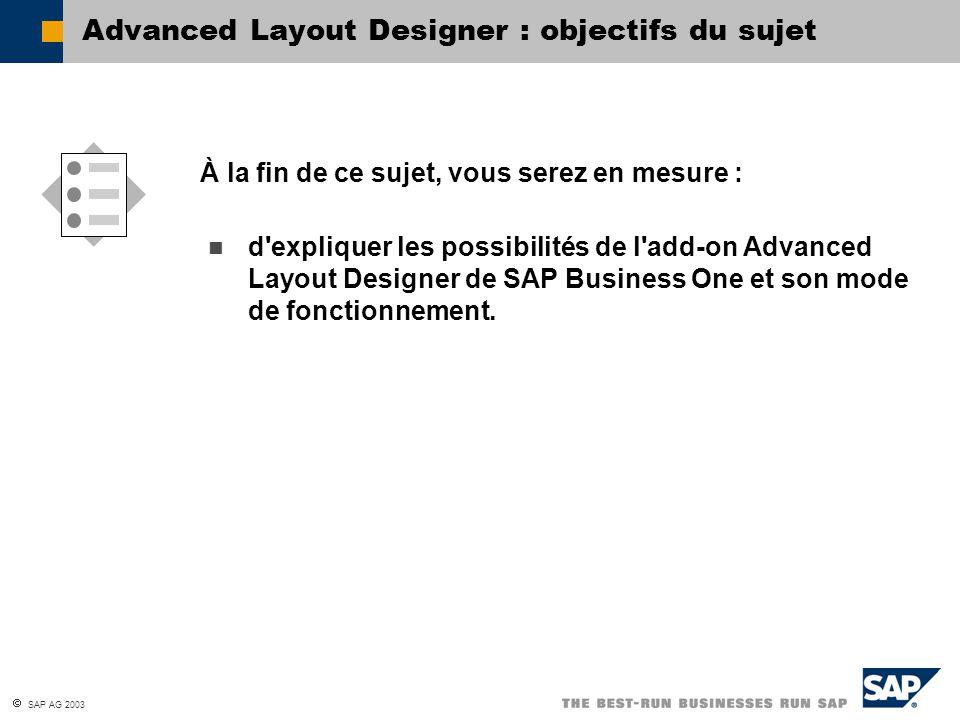 SAP AG 2003 d expliquer les possibilités de l add-on Advanced Layout Designer de SAP Business One et son mode de fonctionnement.