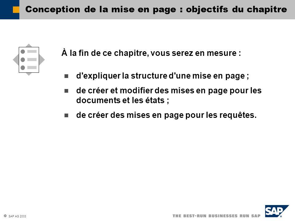 SAP AG 2003 Mise en page des requêtes Création d état Impr.