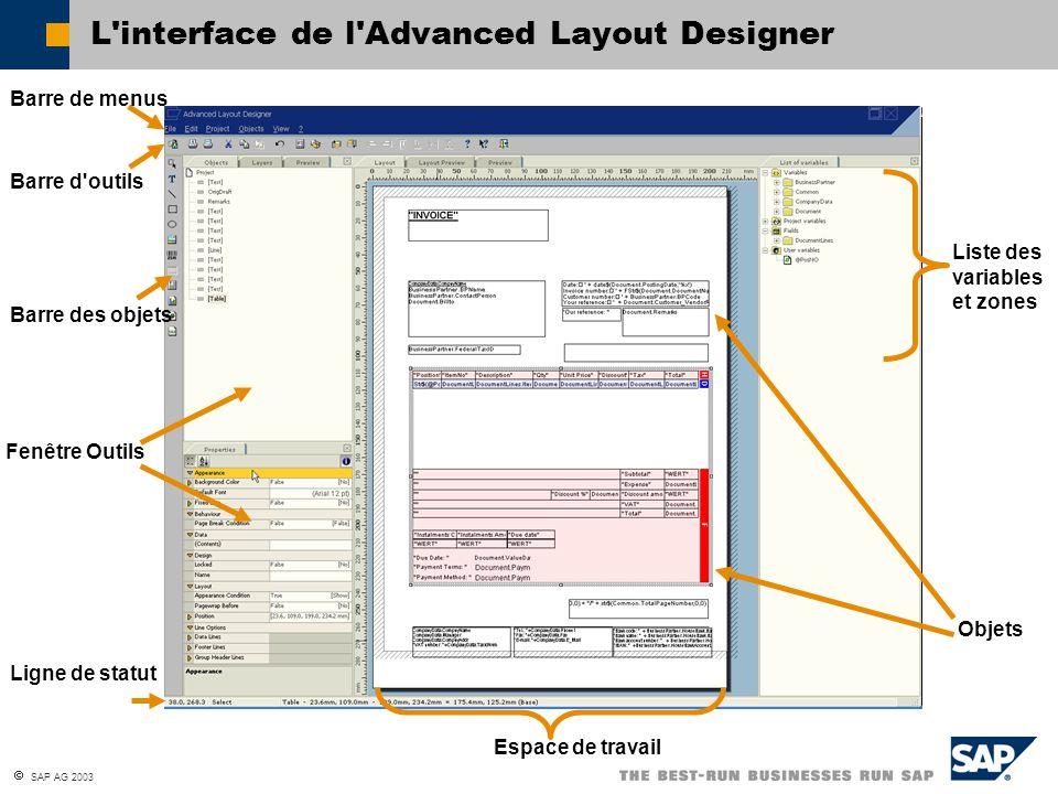SAP AG 2003 L interface de l Advanced Layout Designer Barre de menus Barre d outils Liste des variables et zones Fenêtre Outils Barre des objets Ligne de statut Objets Espace de travail