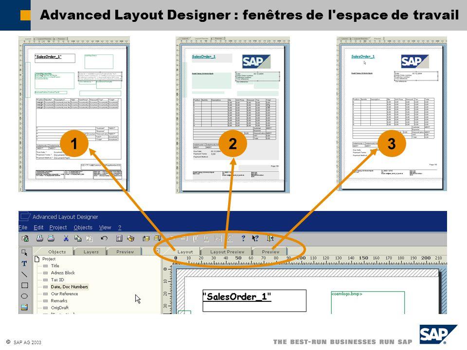 SAP AG 2003 Advanced Layout Designer : fenêtres de l espace de travail 12 3