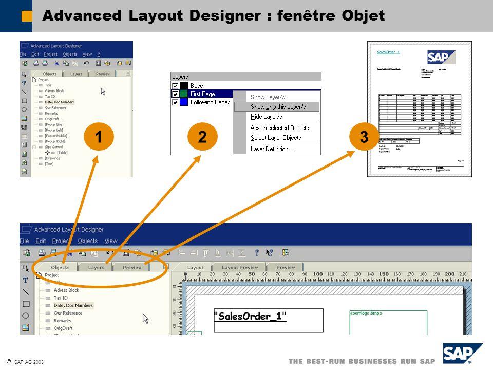 SAP AG 2003 Advanced Layout Designer : fenêtre Objet 12 3