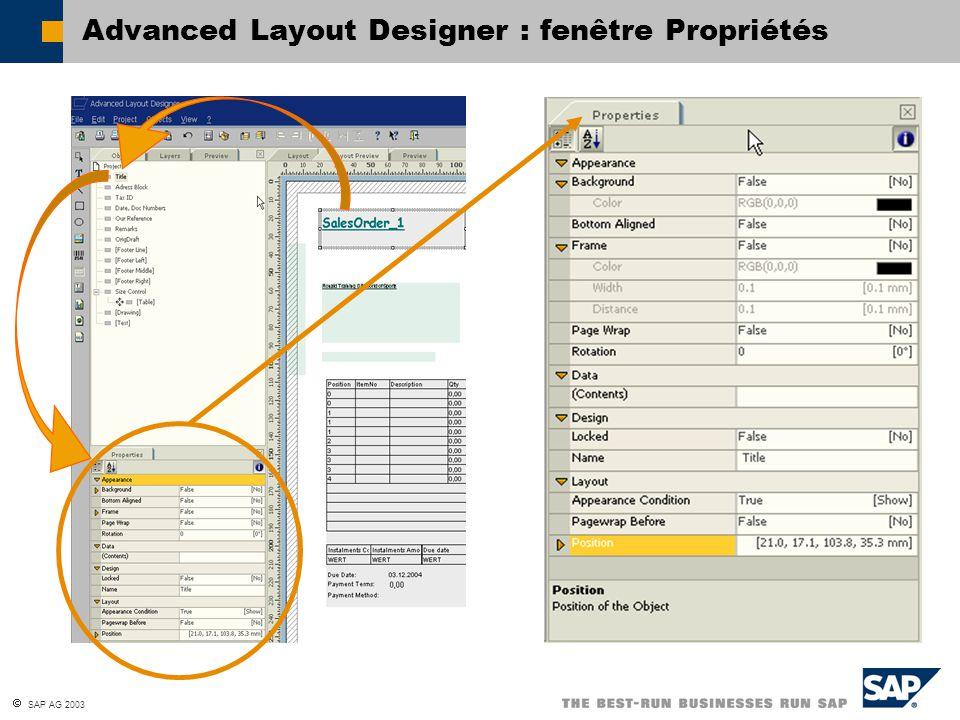 SAP AG 2003 Advanced Layout Designer : fenêtre Propriétés