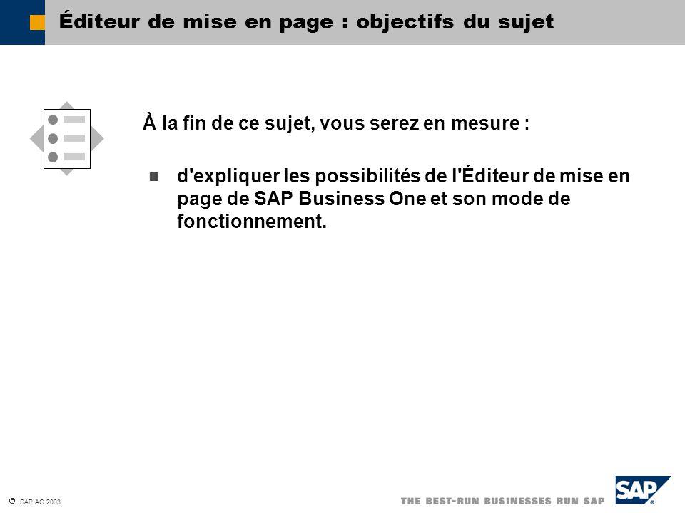 SAP AG 2003 Vous êtes maintenant capable : Conception de la mise en page : résumé du chapitre d expliquer la structure d une mise en page ; de créer et modifier des mises en page pour les documents et les états ; de créer des mises en page pour les requêtes.