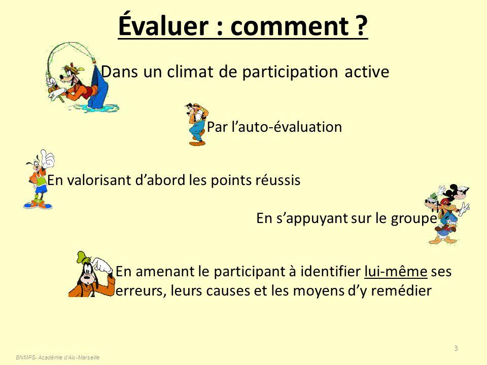 Évaluer : comment ? BNMPS- Académie d'Aix-Marseille 3 Dans un climat de participation active En valorisant dabord les points réussis Par lauto-évaluat