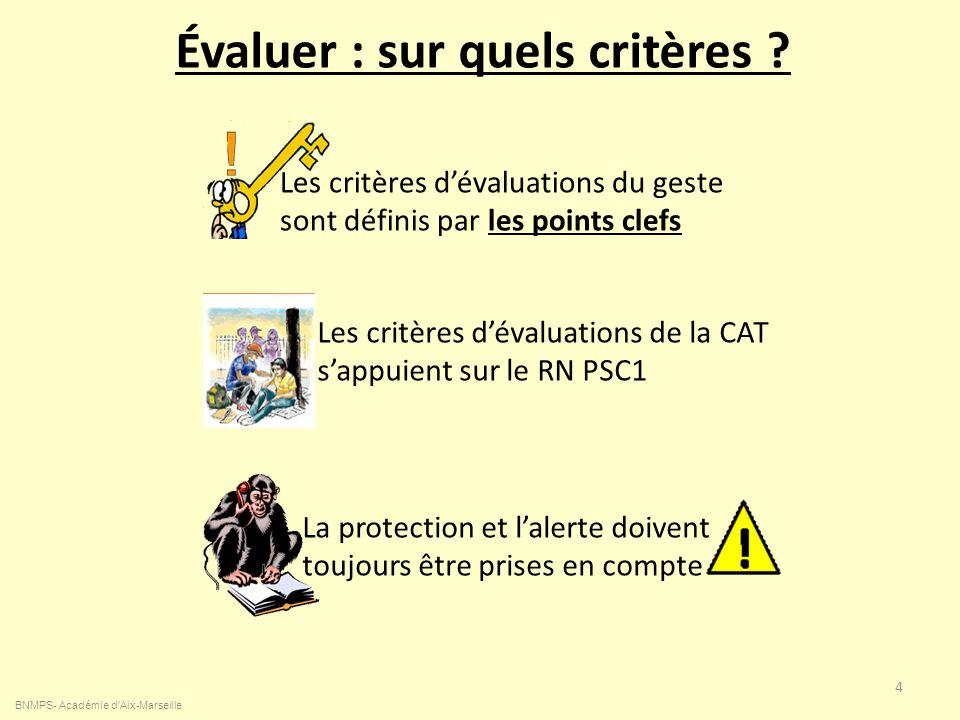 Évaluer : sur quels critères ? BNMPS- Académie d'Aix-Marseille 4 Les critères dévaluations du geste sont définis par les points clefs Les critères dév