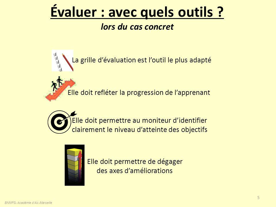 Évaluer : avec quels outils ? lors du cas concret BNMPS- Académie d'Aix-Marseille 5 La grille dévaluation est loutil le plus adapté Elle doit permettr