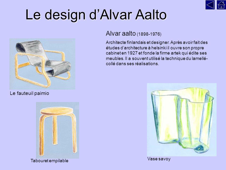 Le design dAlvar Aalto Le fauteuil paimio Vase savoy Tabouret empilable Alvar aalto (1898-1976) Architecte finlandais et designer.
