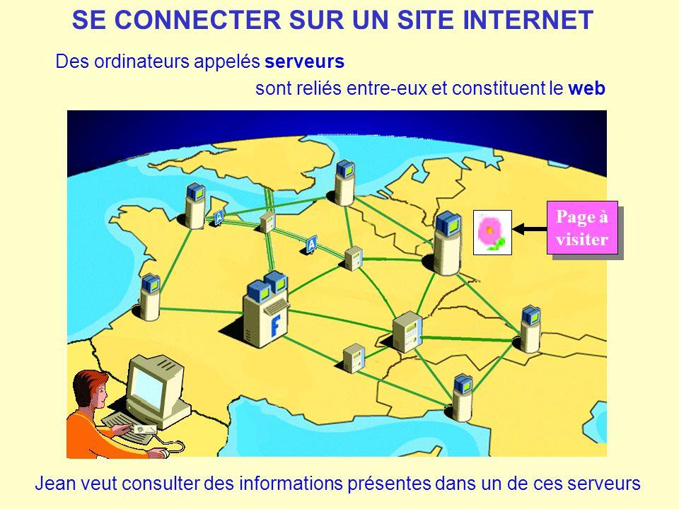 Des ordinateurs appelés serveurs SE CONNECTER SUR UN SITE INTERNET sont reliés entre-eux et constituent le web Jean veut consulter des informations pr