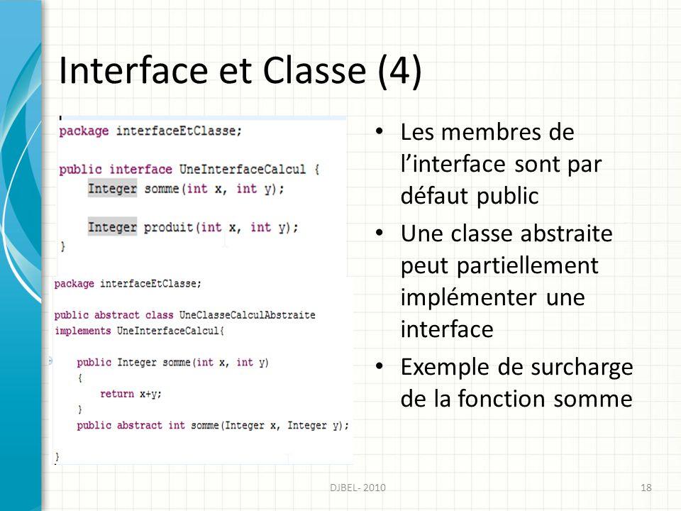 Interface et Classe (4) Les membres de linterface sont par défaut public Une classe abstraite peut partiellement implémenter une interface Exemple de surcharge de la fonction somme DJBEL- 201018