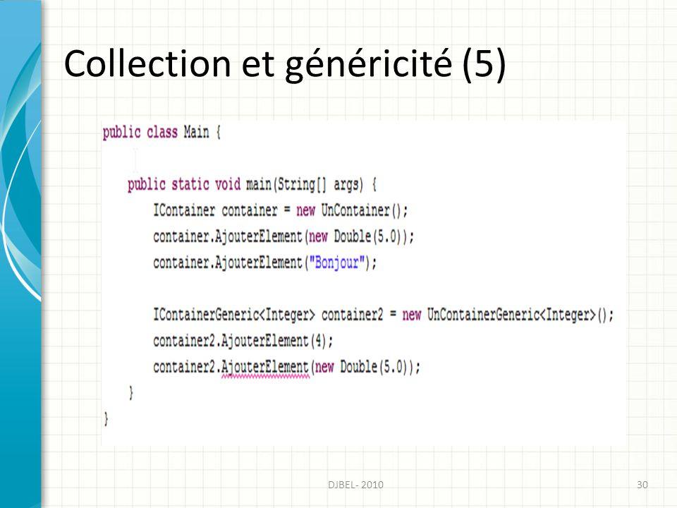 Collection et généricité (5) 30DJBEL- 2010