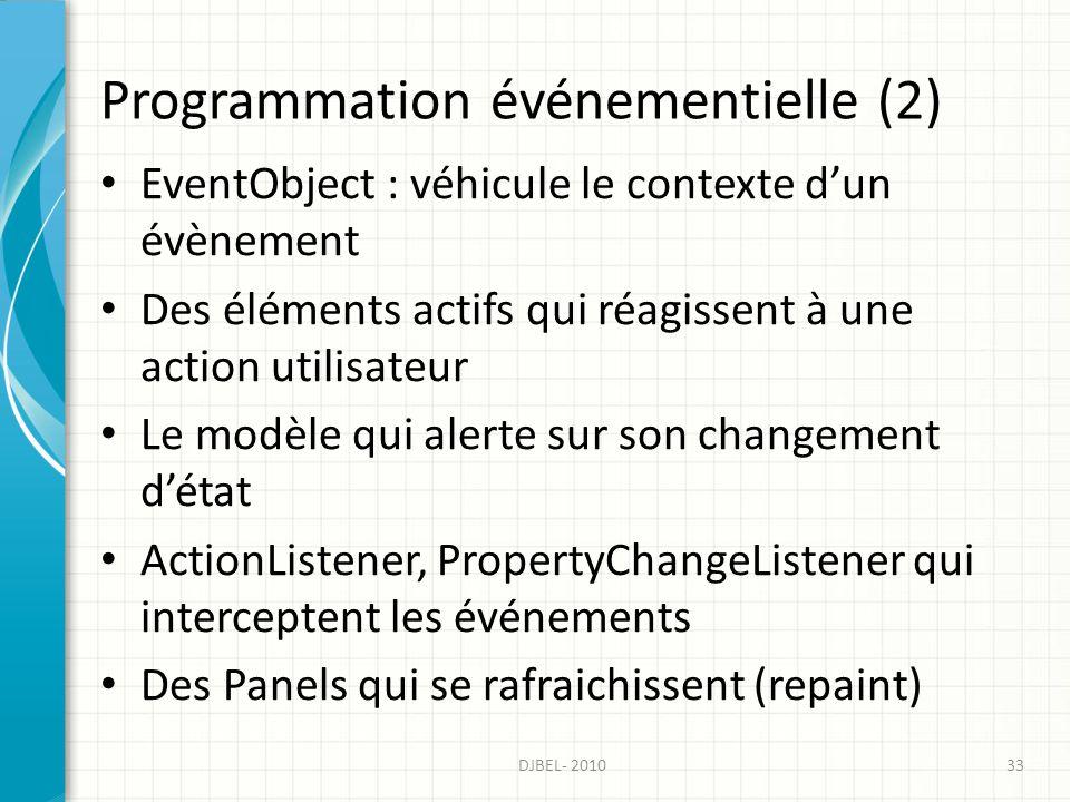 Programmation événementielle (2) EventObject : véhicule le contexte dun évènement Des éléments actifs qui réagissent à une action utilisateur Le modèle qui alerte sur son changement détat ActionListener, PropertyChangeListener qui interceptent les événements Des Panels qui se rafraichissent (repaint) 33DJBEL- 2010