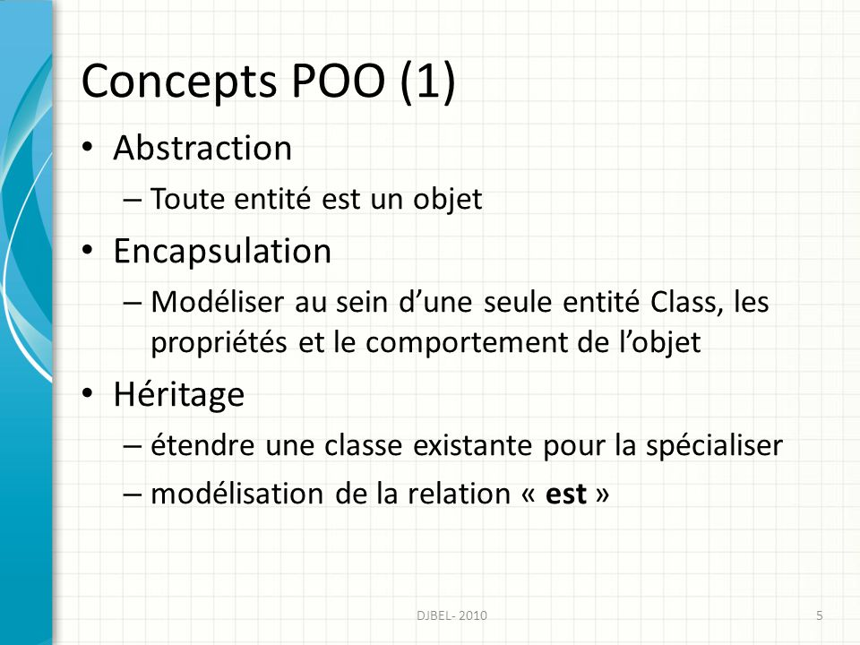 Concepts POO (1) Abstraction – Toute entité est un objet Encapsulation – Modéliser au sein dune seule entité Class, les propriétés et le comportement de lobjet Héritage – étendre une classe existante pour la spécialiser – modélisation de la relation « est » 5DJBEL- 2010