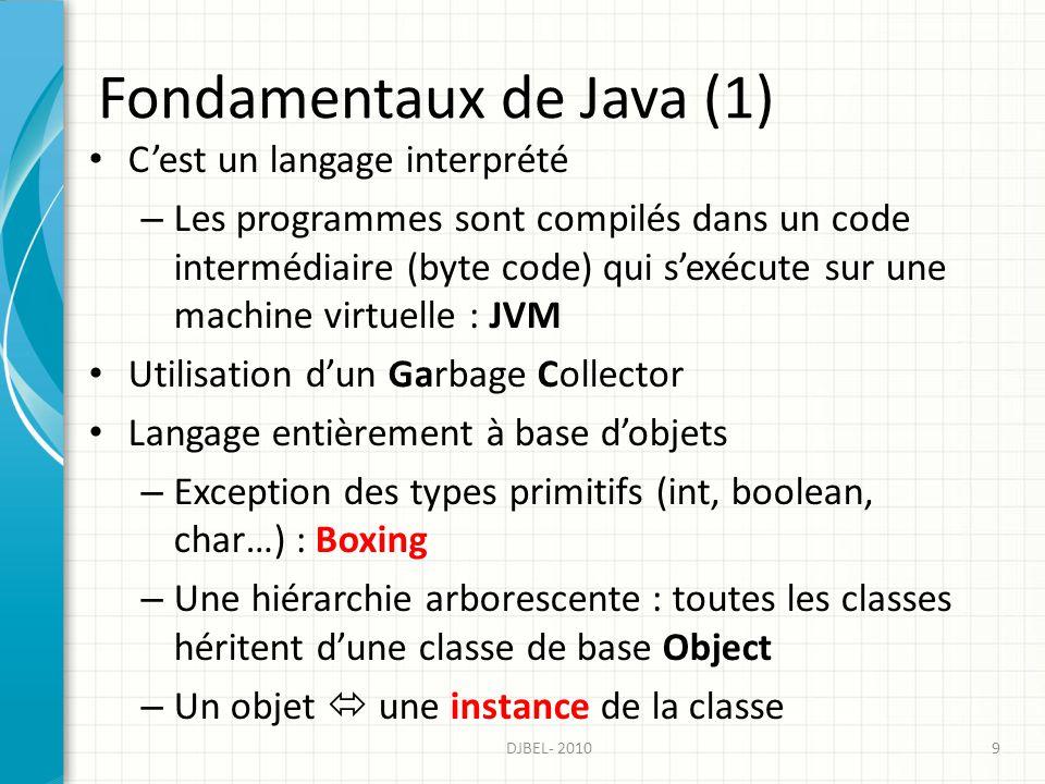 Fondamentaux de Java (1) Cest un langage interprété – Les programmes sont compilés dans un code intermédiaire (byte code) qui sexécute sur une machine virtuelle : JVM Utilisation dun Garbage Collector Langage entièrement à base dobjets – Exception des types primitifs (int, boolean, char…) : Boxing – Une hiérarchie arborescente : toutes les classes héritent dune classe de base Object – Un objet une instance de la classe 9DJBEL- 2010