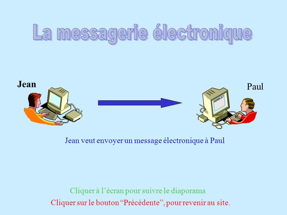 Jean Paul Jean veut envoyer un message électronique à Paul Cliquer à lécran pour suivre le diaporama Cliquer sur le bouton Précédente, pour revenir au