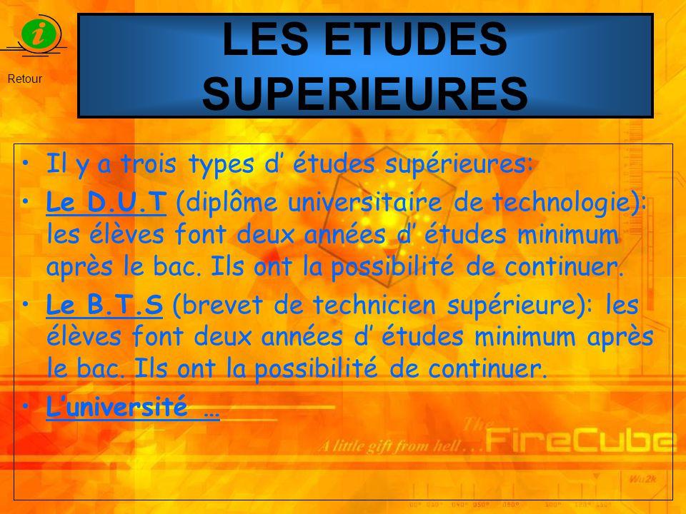 LES ETUDES SUPERIEURES Il y a trois types d études supérieures: Le D.U.T (diplôme universitaire de technologie): les élèves font deux années d études