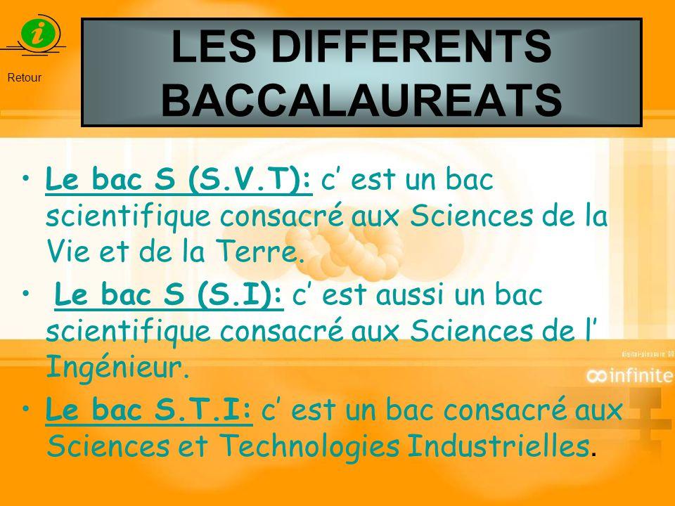 LES DIFFERENTS BACCALAUREATS Le bac S (S.V.T): c est un bac scientifique consacré aux Sciences de la Vie et de la Terre. Le bac S (S.I): c est aussi u