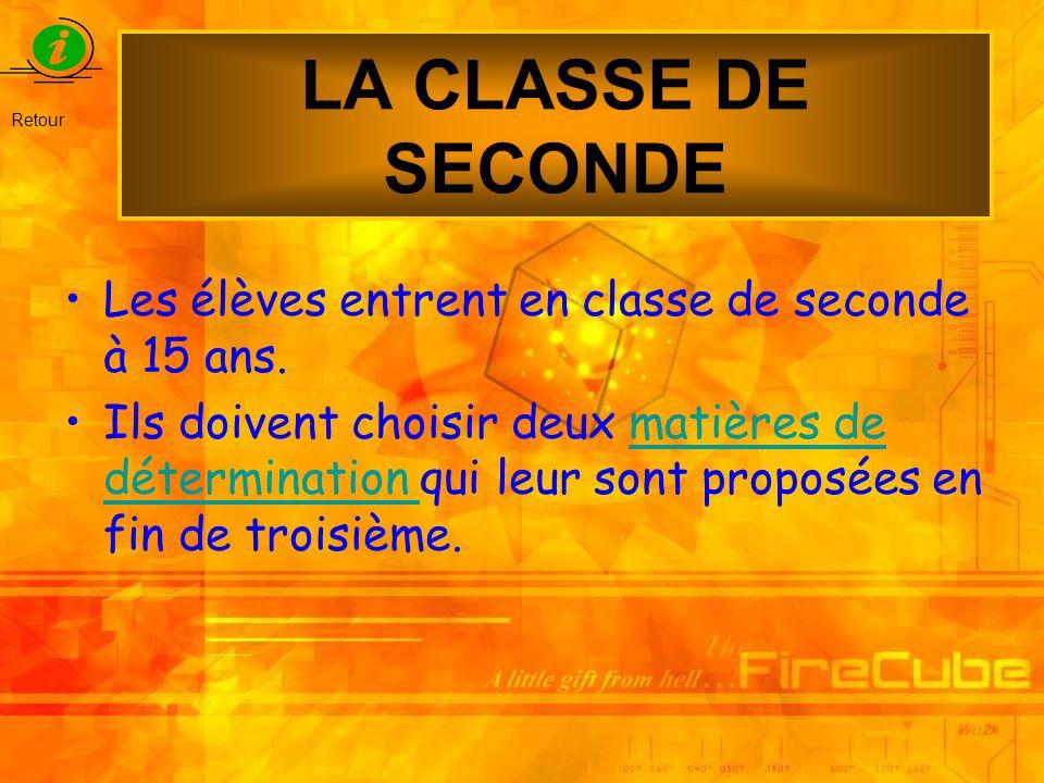LA CLASSE DE SECONDE Les élèves entrent en classe de seconde à 15 ans. Ils doivent choisir deux matières de détermination qui leur sont proposées en f
