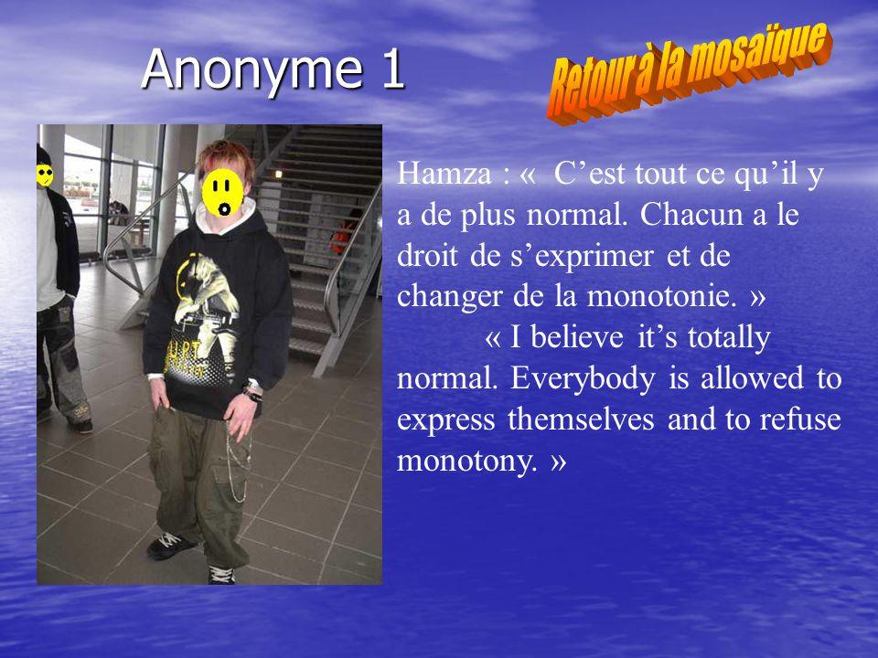Anonyme 1 Hamza : « Cest tout ce quil y a de plus normal.