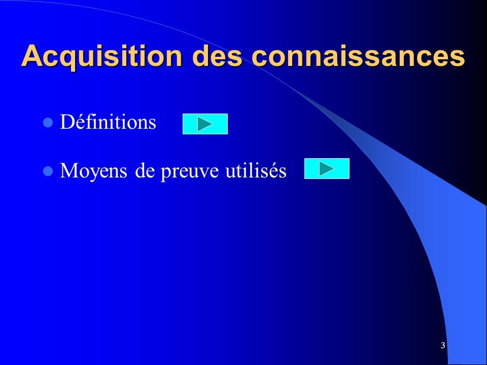 2 PLAN DE LA SEQUENCE Acquisition des connaissances Test dacquisition des connaissances