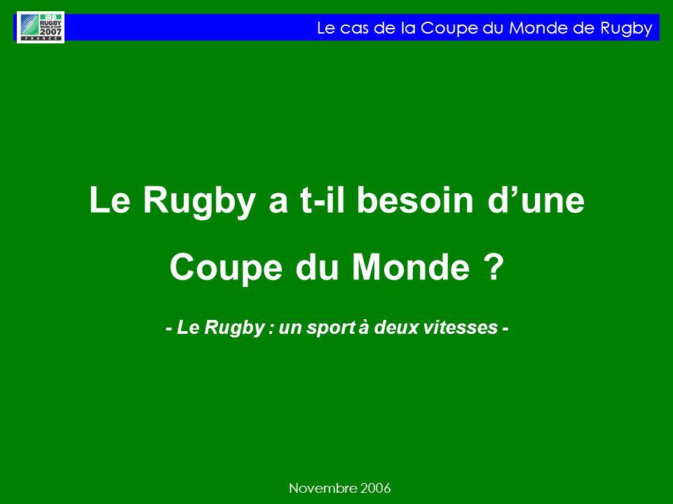 Le cas de la Coupe du Monde de Rugby Novembre 2006 Le Rugby a t-il besoin dune Coupe du Monde .