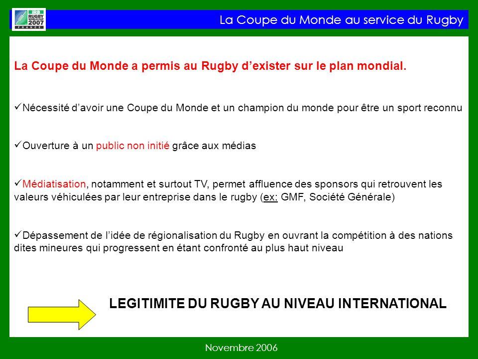 La Coupe du Monde a permis au Rugby dexister sur le plan mondial.