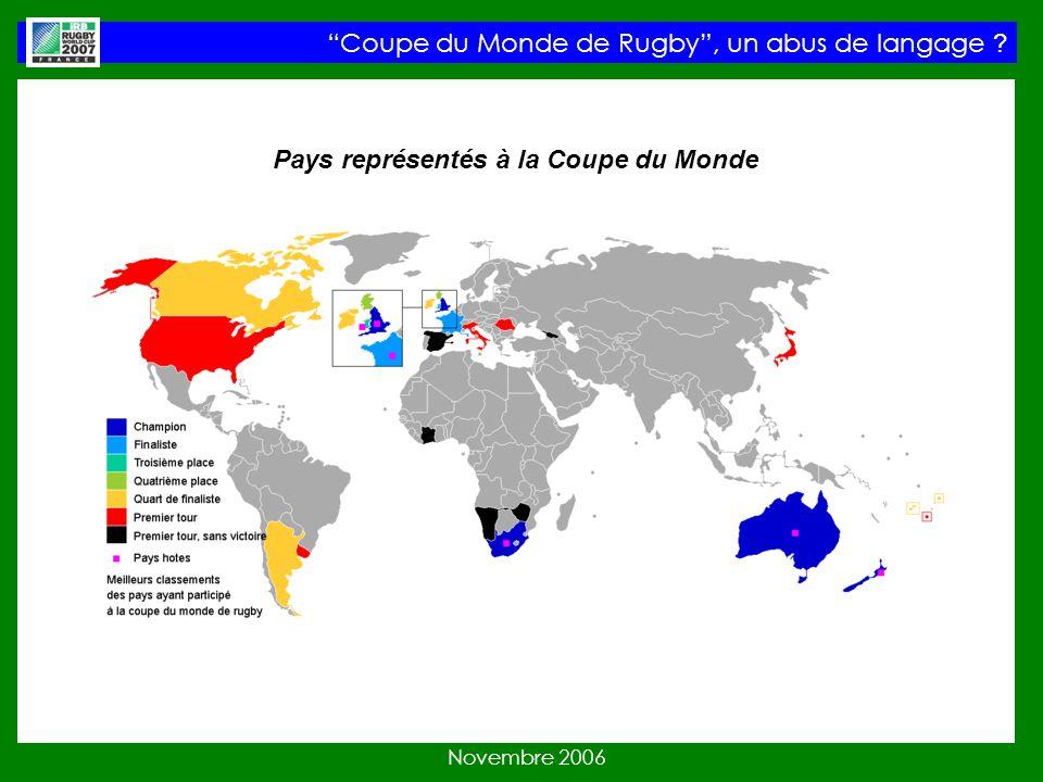 Coupe du Monde de Rugby, un abus de langage Novembre 2006 Pays représentés à la Coupe du Monde