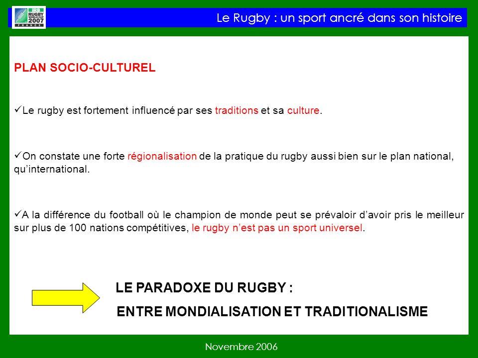 PLAN SOCIO-CULTUREL Le rugby est fortement influencé par ses traditions et sa culture.