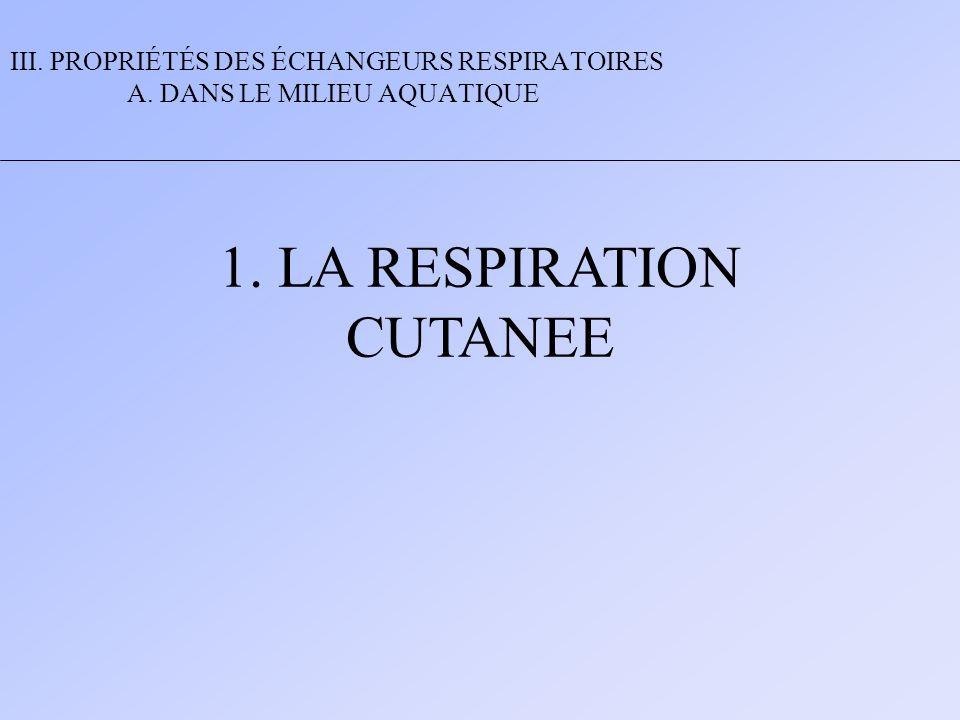 1. LA RESPIRATION CUTANEE III. PROPRIÉTÉS DES ÉCHANGEURS RESPIRATOIRES A. DANS LE MILIEU AQUATIQUE