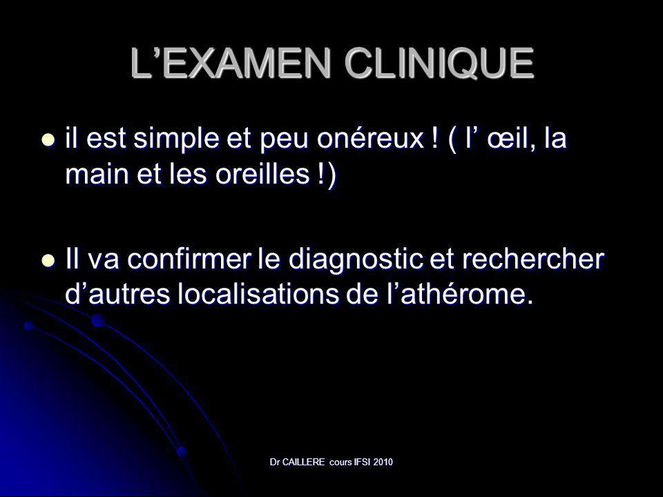 Dr CAILLERE cours IFSI 2010 LEXAMEN CLINIQUE il est simple et peu onéreux .