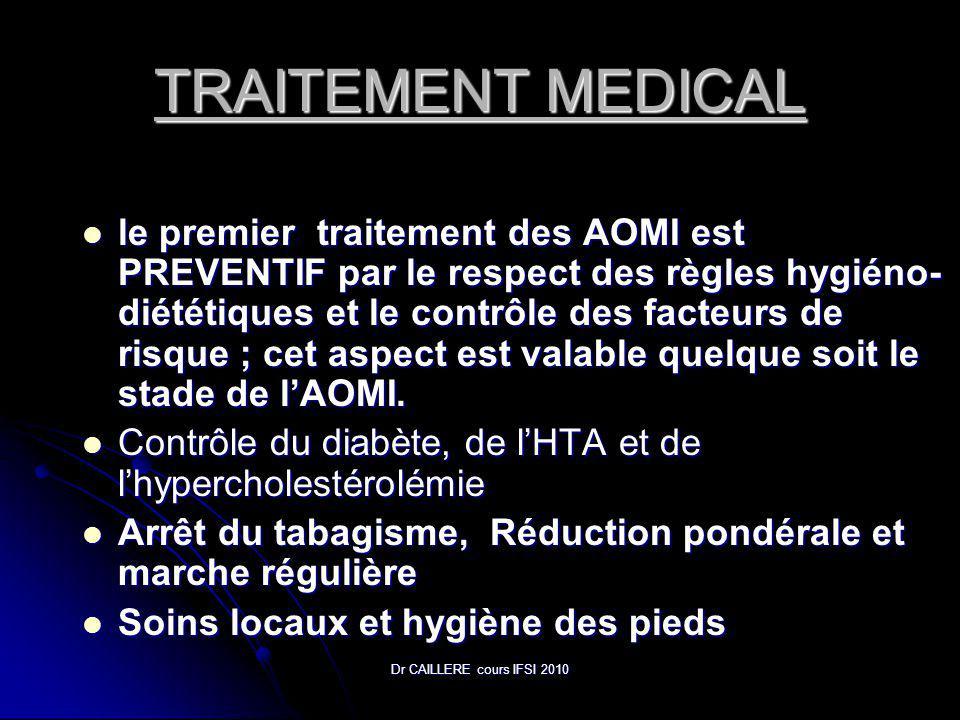 Dr CAILLERE cours IFSI 2010 TRAITEMENT MEDICAL le premier traitement des AOMI est PREVENTIF par le respect des règles hygiéno- diététiques et le contrôle des facteurs de risque ; cet aspect est valable quelque soit le stade de lAOMI.