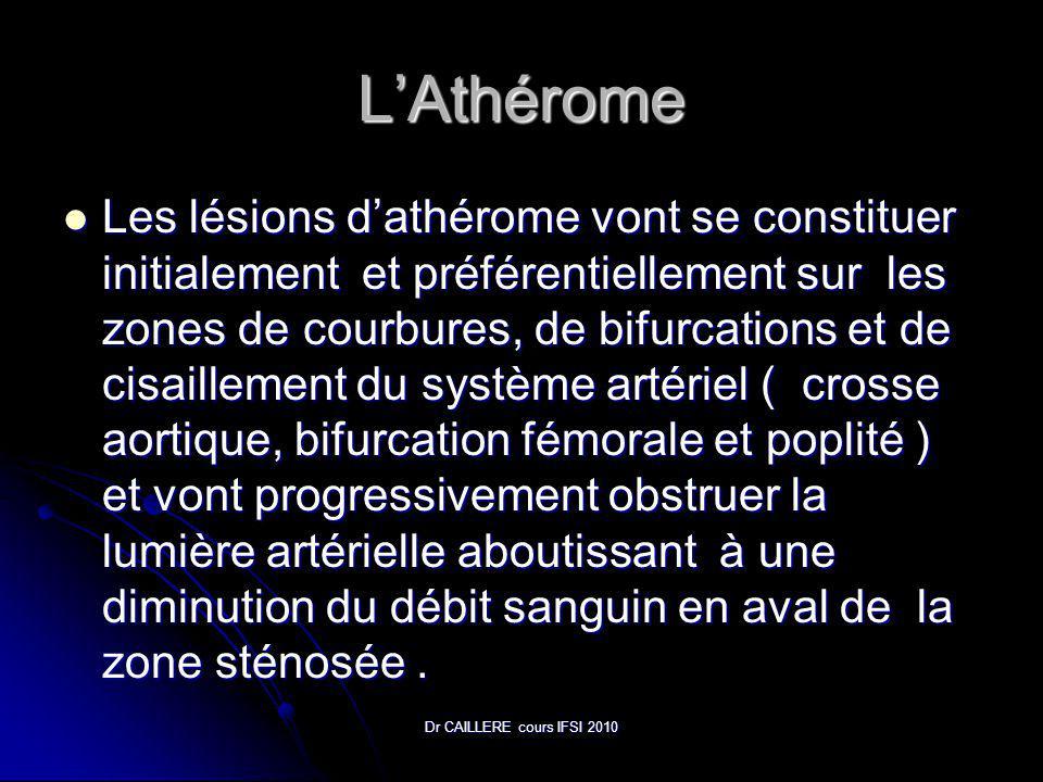 Dr CAILLERE cours IFSI 2010 LAthérome Les lésions dathérome vont se constituer initialement et préférentiellement sur les zones de courbures, de bifurcations et de cisaillement du système artériel ( crosse aortique, bifurcation fémorale et poplité ) et vont progressivement obstruer la lumière artérielle aboutissant à une diminution du débit sanguin en aval de la zone sténosée.