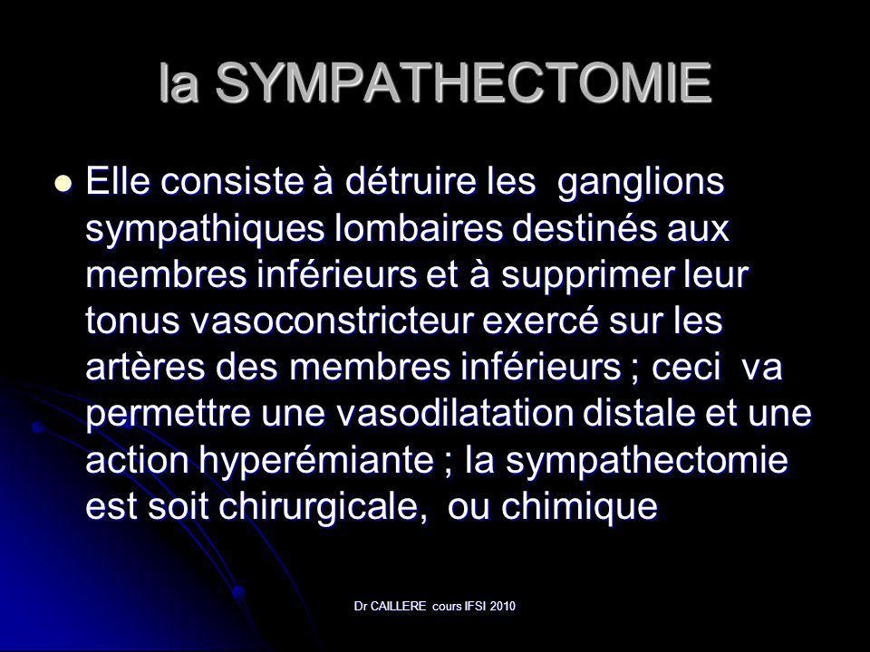 Dr CAILLERE cours IFSI 2010 la SYMPATHECTOMIE Elle consiste à détruire les ganglions sympathiques lombaires destinés aux membres inférieurs et à supprimer leur tonus vasoconstricteur exercé sur les artères des membres inférieurs ; ceci va permettre une vasodilatation distale et une action hyperémiante ; la sympathectomie est soit chirurgicale, ou chimique Elle consiste à détruire les ganglions sympathiques lombaires destinés aux membres inférieurs et à supprimer leur tonus vasoconstricteur exercé sur les artères des membres inférieurs ; ceci va permettre une vasodilatation distale et une action hyperémiante ; la sympathectomie est soit chirurgicale, ou chimique