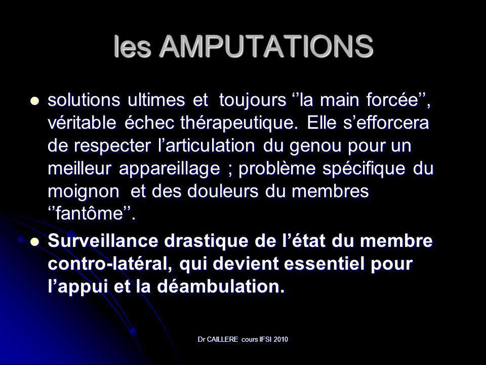 Dr CAILLERE cours IFSI 2010 les AMPUTATIONS solutions ultimes et toujours la main forcée, véritable échec thérapeutique.