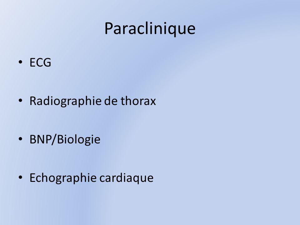 Paraclinique ECG Radiographie de thorax BNP/Biologie Echographie cardiaque