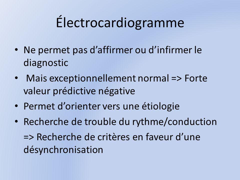 Électrocardiogramme Ne permet pas daffirmer ou dinfirmer le diagnostic Mais exceptionnellement normal => Forte valeur prédictive négative Permet dorienter vers une étiologie Recherche de trouble du rythme/conduction => Recherche de critères en faveur dune désynchronisation