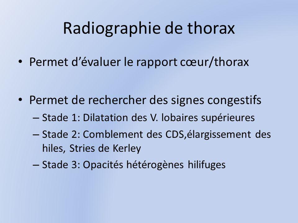 Radiographie de thorax Permet dévaluer le rapport cœur/thorax Permet de rechercher des signes congestifs – Stade 1: Dilatation des V.