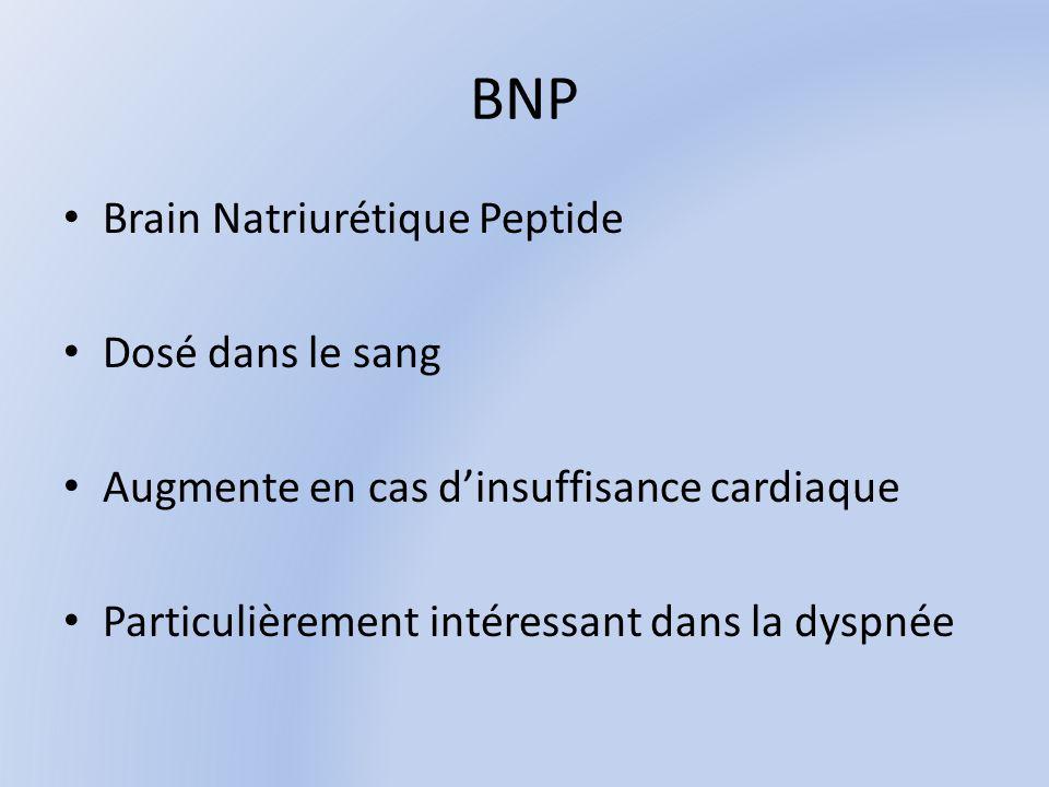 BNP Brain Natriurétique Peptide Dosé dans le sang Augmente en cas dinsuffisance cardiaque Particulièrement intéressant dans la dyspnée