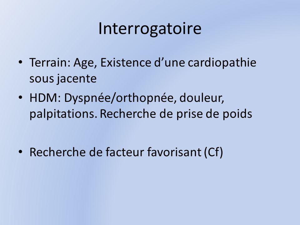 Interrogatoire Terrain: Age, Existence dune cardiopathie sous jacente HDM: Dyspnée/orthopnée, douleur, palpitations.