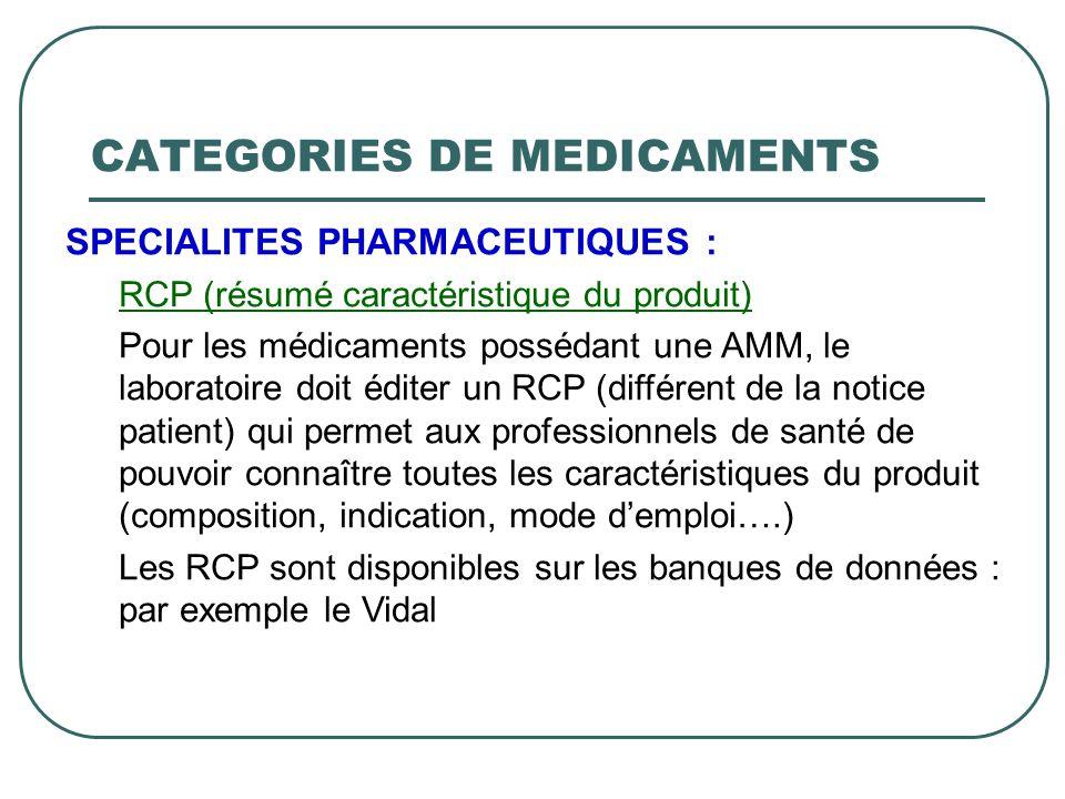 SPECIALITES PHARMACEUTIQUES : RCP (résumé caractéristique du produit) Pour les médicaments possédant une AMM, le laboratoire doit éditer un RCP (diffé
